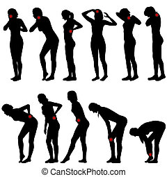 Silhouettes of women with different pain