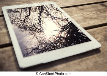 Rustic wooden table with digital tablet and trees reflecting...