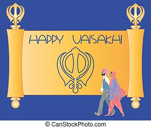 sikh greeting card - a vector illustration in eps 10 format...