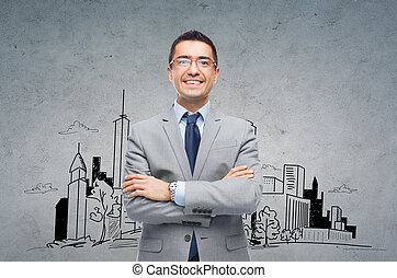 happy smiling businessman in eyeglasses and suit - business,...
