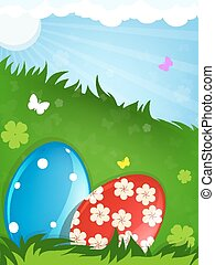 Easter eggs in the meadow