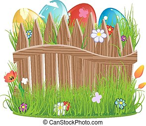 Easter eggs with grass and fence - Colorful Easter eggs with...