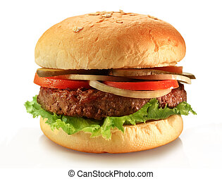 hamburger - Delicious juicy grilled burger on wheat buns.