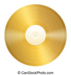 Gold Record Certification - Blank gold record. Isolated...