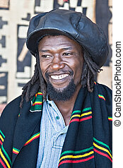 Rasta man - rasta man with dreadlocks and leather hat,...