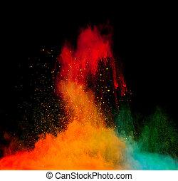 colorido, Pó, explosão, ligado, pretas, fundo,...