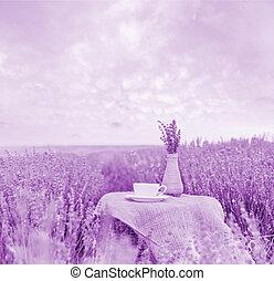 Harvested lavender flowers - Harvested lavender flowers on...