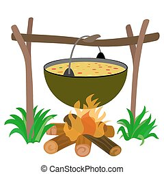 Kettle of Soup in Campfire  -  Stock Illustration