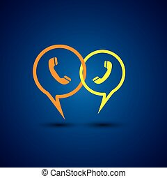 online phone support & phone chat - concept vector line...