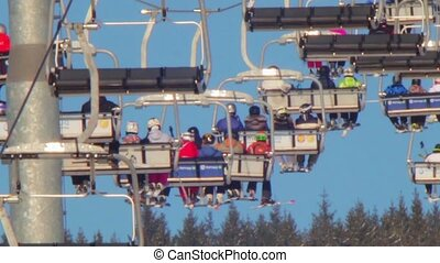 Ski lift with people
