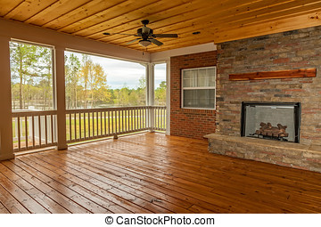 Backyard Deck - New backyard deck with fireplace overlooking...