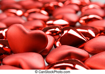 Valentine hearts - Red heart shape decorations for...