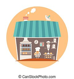 Bakery or bakeshop vector concept