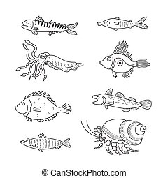 Set of monochrome vector doodle fishes and sea dwellers...