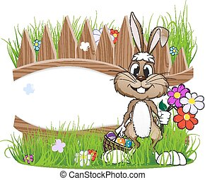 Easter bunny with egg basket and flowers near a wooden fence...