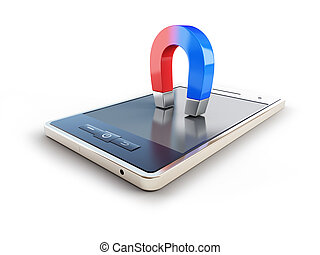 magnet mobile phone horseshoe on white background
