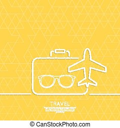Icon airplane and suitcase. - Icon airplane, glasses and...