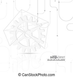 Vector abstract background with gear wheel, geometric shapes...