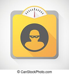 Weight scale with a thief - Illustration of a weight scale...