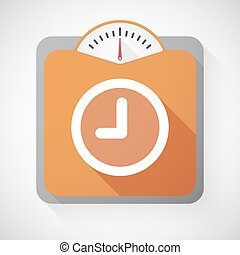 Weight scale with a clock - Illustration of a weight scale...
