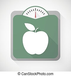 Weight scale with an apple
