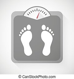 Weight scale with foot prints - Illustration of a weight...