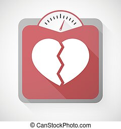 Weight scale with a broken heart