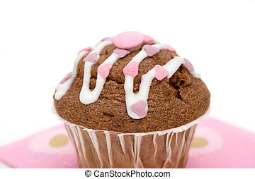 chocolate muffin - Chocolate muffin with pink and purple...