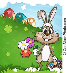 Easter rabbit on meadow holding a basket with eggs