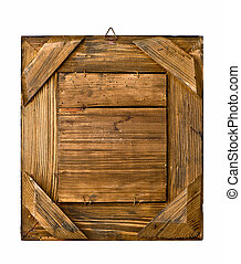 aged rustic wooden frame on white