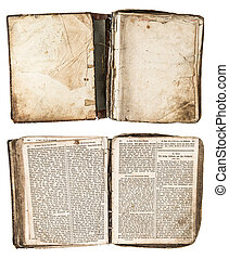 open antique book from 1861 with grungy pages