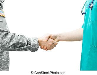 soldado, y, doctor, sacudida, Manos, en, blanco, Plano de...