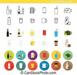 Beverages icons - Set of twelve beverages , in three...