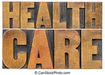 healthcare word abstract in wood type