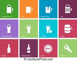 Beer icons on color background.