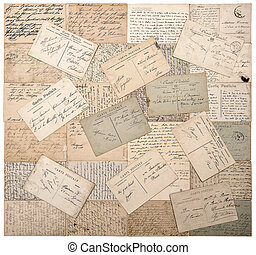 old postcards handwritten undefined texts retro style papers...