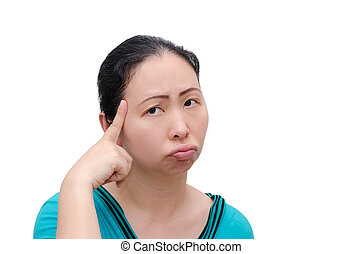 Asian woman worried about the future isolated on white...