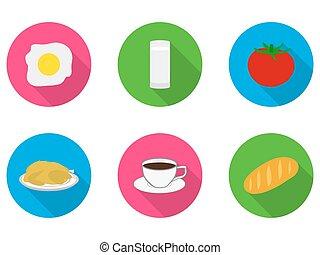 flat icons food