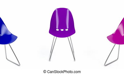 Colorful plastic chairs on white background