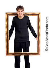Teenager in the Wooden Frame