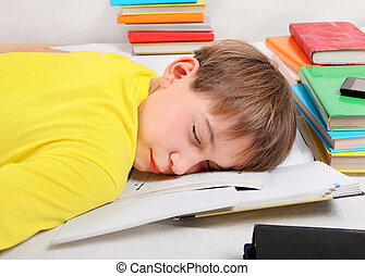 Teenager sleep with a Books - Tired Kid sleep with the Books...