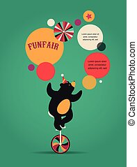 vintage circus poster, background with bear, fun fair, and vector icons