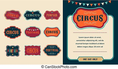 Vintage Circus labels set - Vintage Hipster Circus labels...