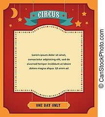 vintage circus poster, background with carnival, fun fair, and vector icons