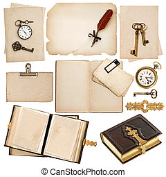 antique book and vintage accessories isolated on white