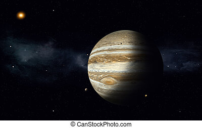 Jupiter with Moons - solar system gas giant jupiter with...