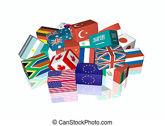 G20 - 3d cube flags of The Group of Twenty Finance Ministers...