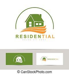 Real estate house green orange logo - Abstract vector...