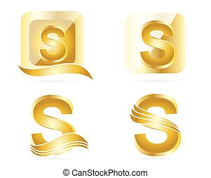 Letter S logo gold set - Logo vector template of gold...