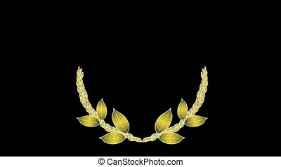 Laurel-wreath - Growing golden laurel wreath Alpha channel...
